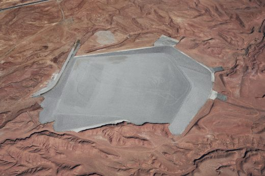 Color aerial photograph directed down at Mexican Hat Uranium Mill Tailings Repository.
