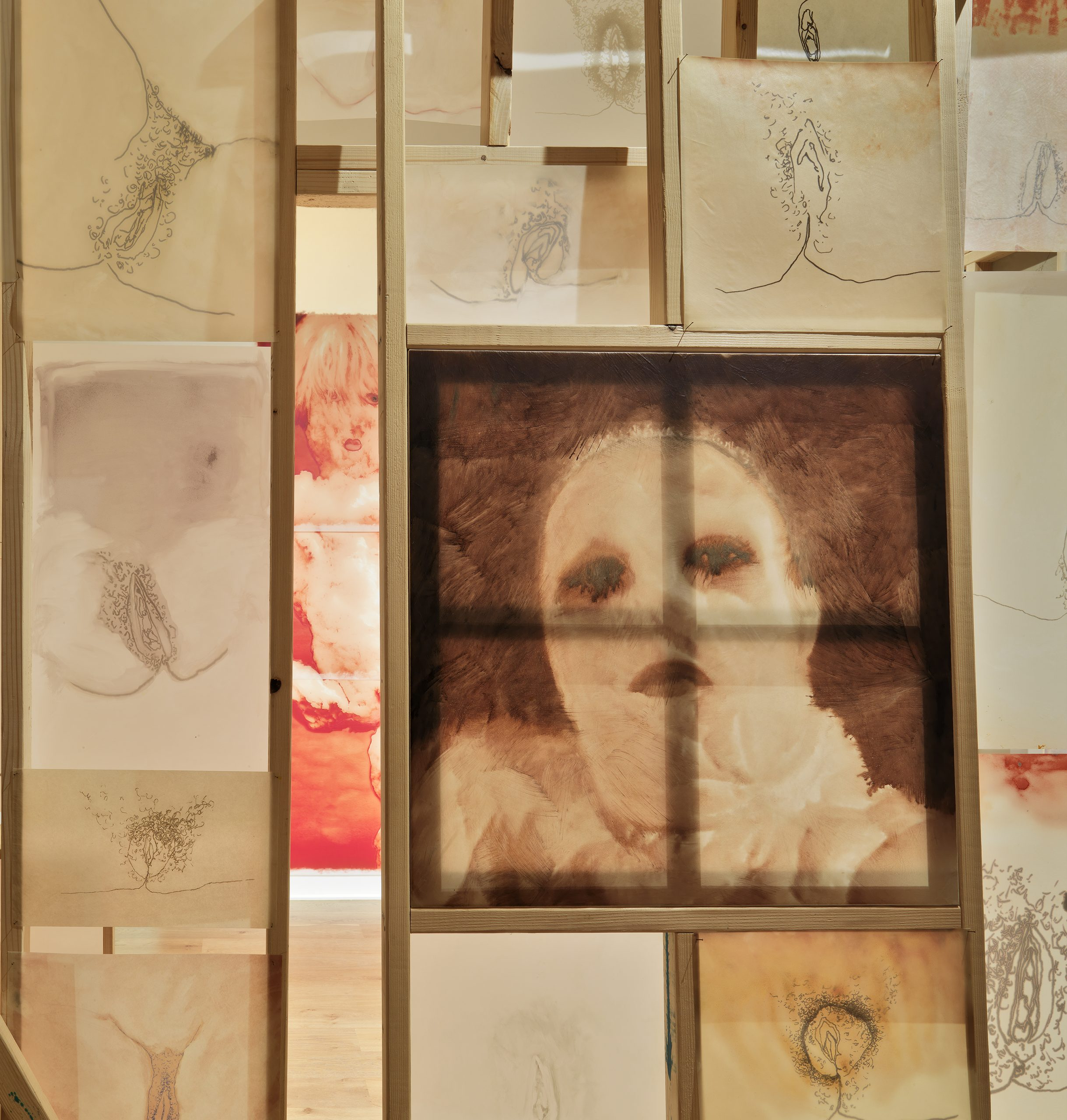 A thin wooden structure displays ink drawings of female genitalia with one portrait.