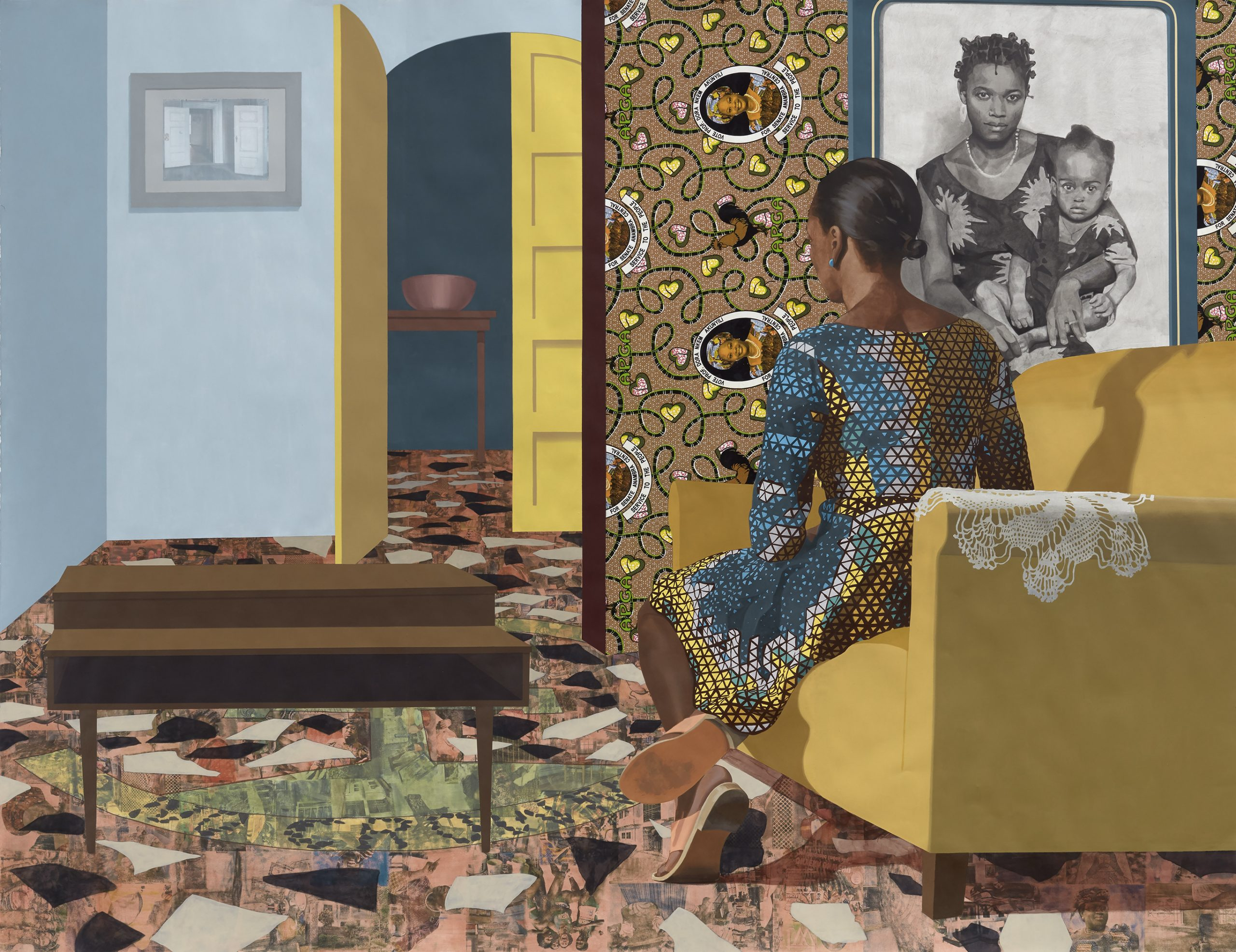 A painted figure sits on a sofa gazing away, down the hallway of a domestic space.