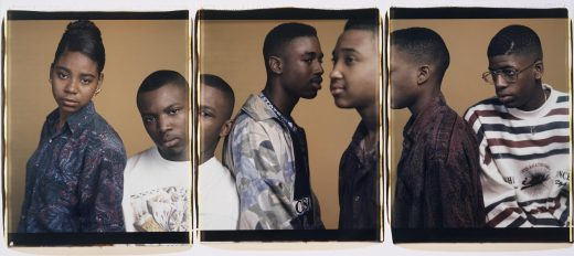 Three photographs lined side by side showing five dark-skinned teenagers from the torso up.
