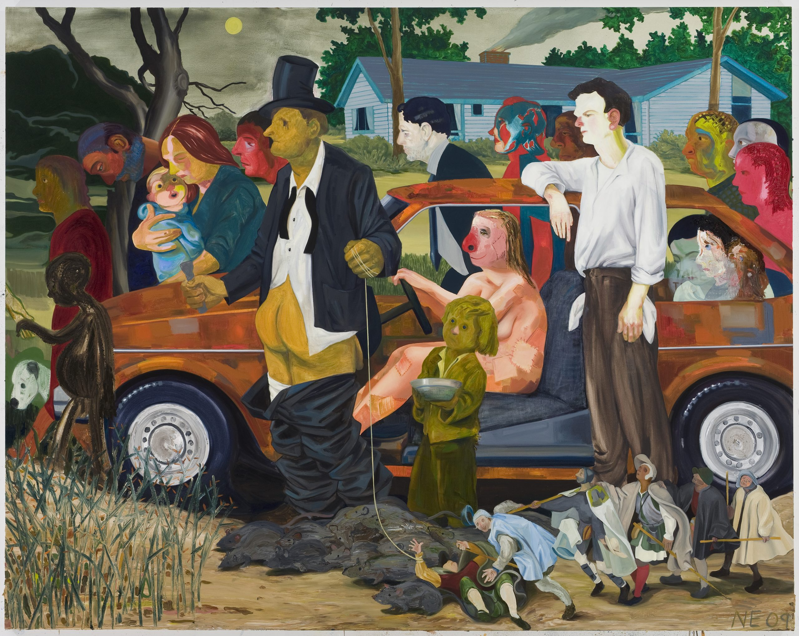 A painting of multiple characters marching alongside a car in subdued but vibrant colors.