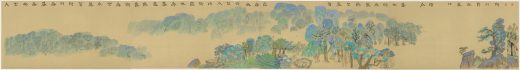 Unrolled landscape painting of trees on a long scroll by Xu Bing