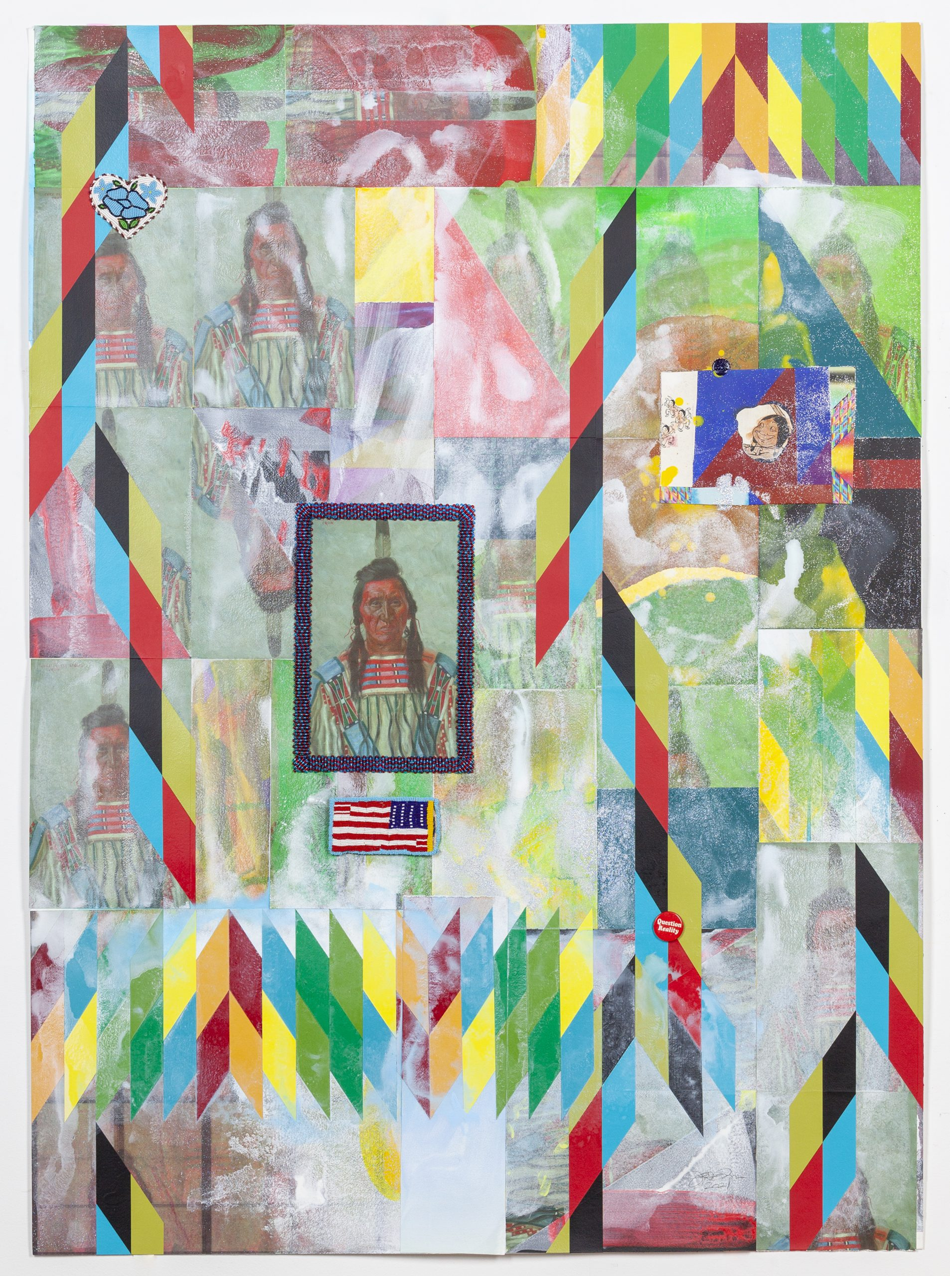 A colorful geometrically patterned painting with 3D elements affixed to the surface.