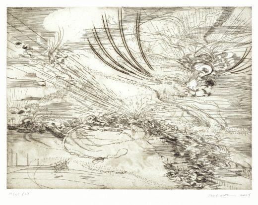 Various etchings of landscape scenes printed on paper.