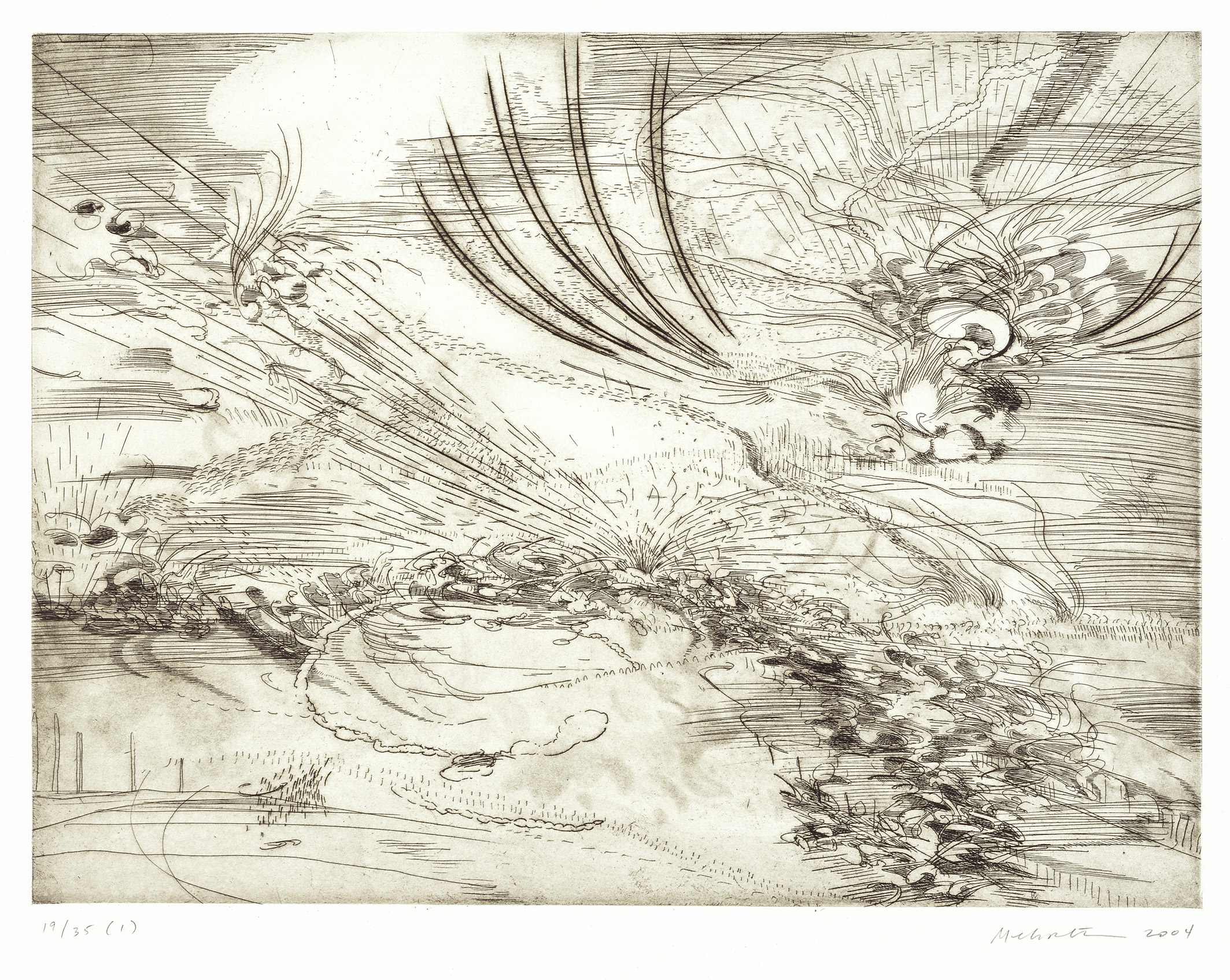 Various etchings of landscape scenes printed on white canvas.