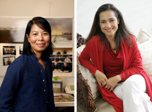 Side-by-side headshots of An-My Lê and Shahzia Sikander