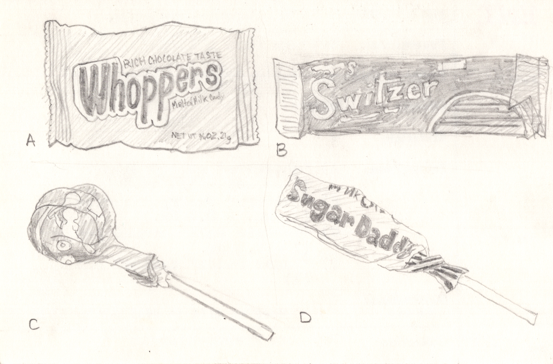 A pencil linedrawing of four kinds of candy