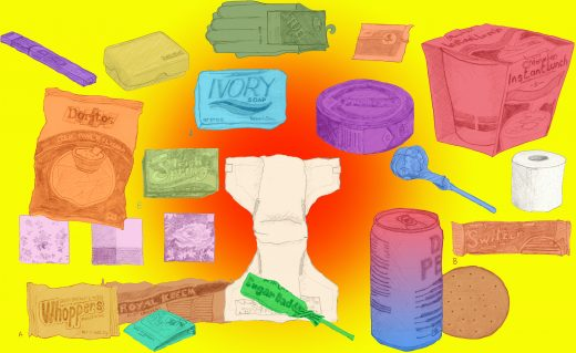 Multicolored pencil drawings of common every day items on a brightly colored digitally rendered background.