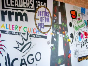 A mural made with business names and logos.