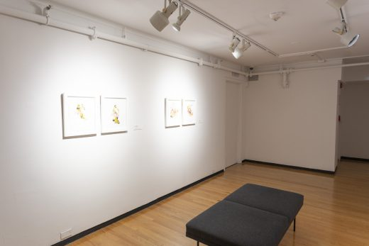 Gallery view of four small framed drawings and a grey bench.