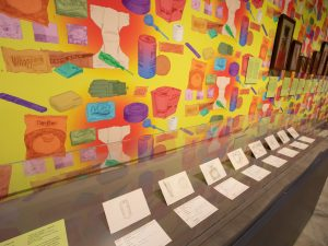 A gallery wall with vibrant wall paper depicting household items with drawings in a long vitrine.