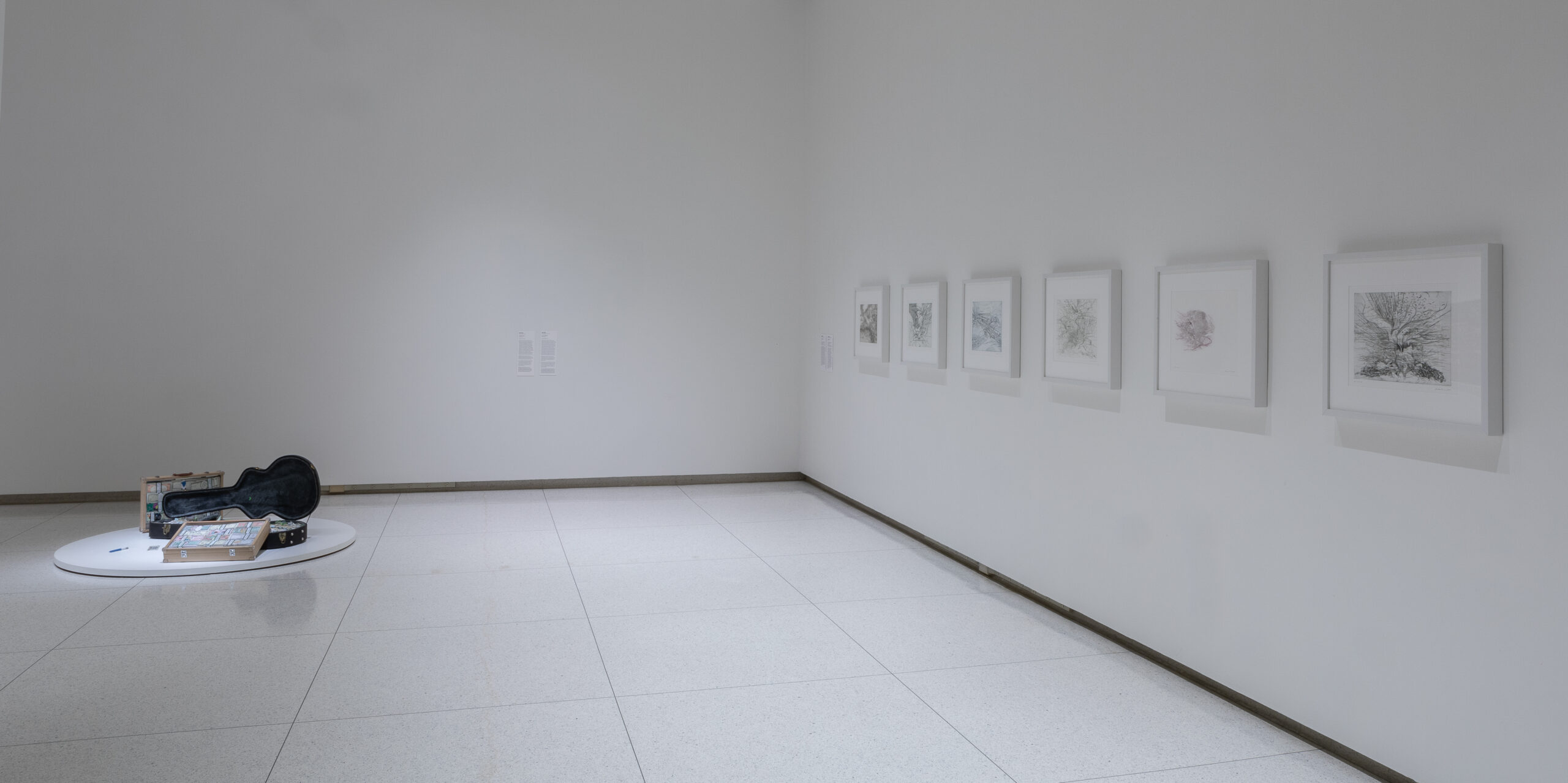 Gallery installation with six framed etchings and a guitar case on the ground.