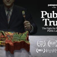 An illustration of a person in a suit carving a cake in the shape of the United States. To the right it reads Patagonia films Public Trust The Fight for America's Public Lands