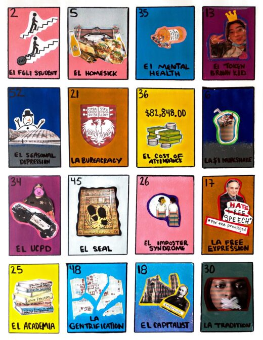 A series of colored rectangles in the style of loteria cards